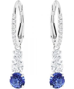 Swarovski Attract Trilogy Round Pierced Earrings, Blue, Rhodium plating