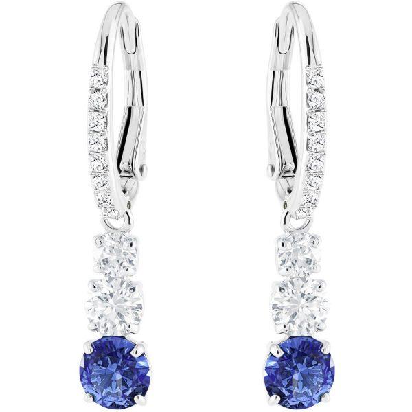 Swarovski Attract Trilogy Round Pierced Earrings, Blue, Rhodium plating