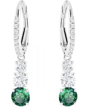 Swarovski Attract Trilogy Round Pierced Earrings, Green, Rhodium plating