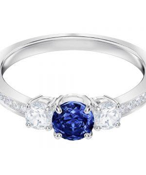 Swarovski Attract Trilogy Round Ring, Blue, Rhodium plating