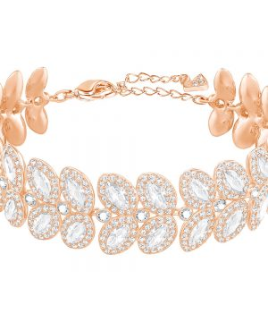 Swarovski Baron Bracelet, White, Rose gold plating