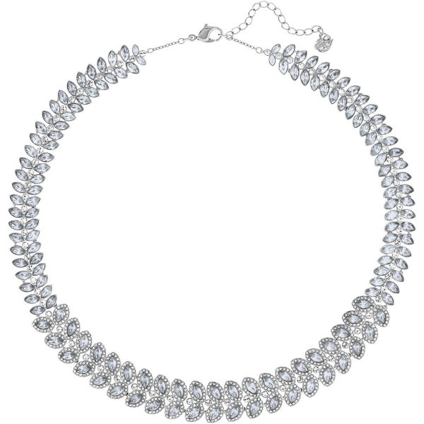 Swarovski Baron Necklace, Blue, Rhodium plating