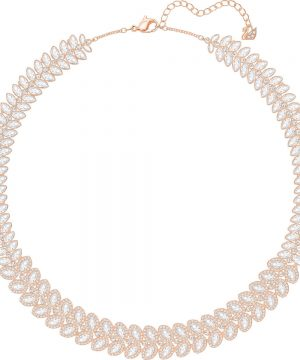 Swarovski Baron Necklace, White, Rose gold plating