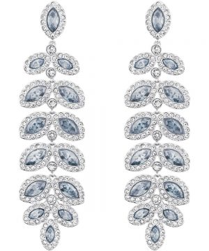 Swarovski Baron Pierced Earrings, Blue, Rhodium Plating