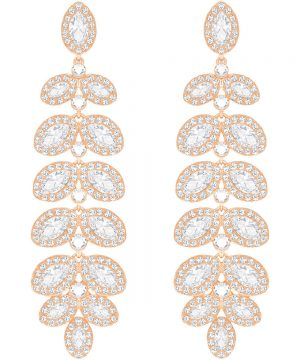 Swarovski Baron Pierced Earrings, White, Rose gold plating