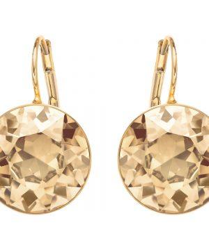 Swarovski Bella Pierced Earrings, Golden, Gold Plating