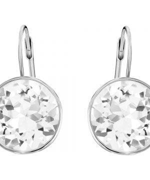 Swarovski Bella Pierced Earrings, White, Rhodium Plating
