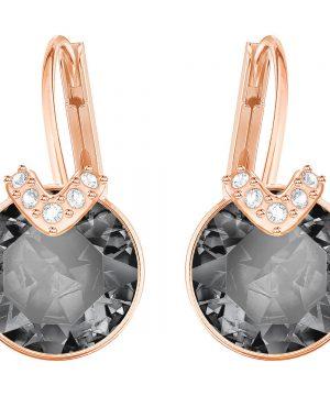 Swarovski Bella V Pierced Earrings, Gray, Rose gold plating
