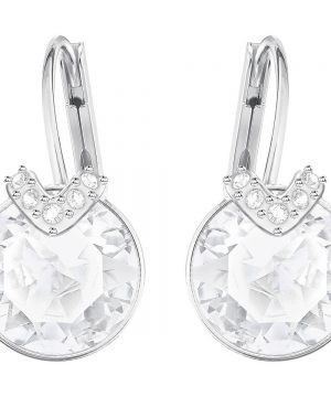 Swarovski Bella V Pierced Earrings, White, Rhodium plating