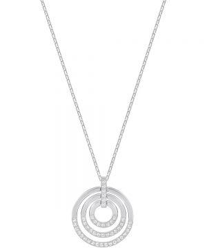 Swarovski Circle Pendant, Medium, White, Rhodium plating