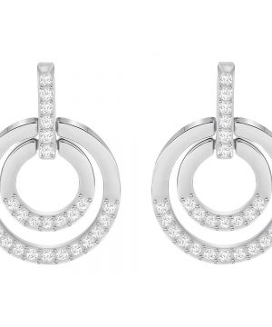 Swarovski Circle Pierced Earrings, Medium, White, Rhodium Plating