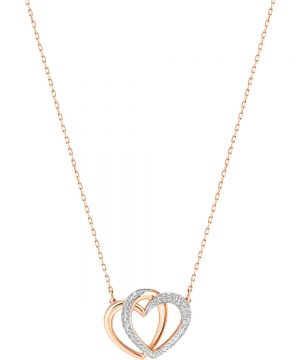 Swarovski Dear Necklace, Medium, White, Rose gold plating