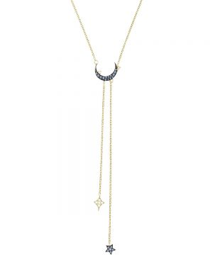 Swarovski Duo Moon Y Necklace, Teal, Mixed Plating
