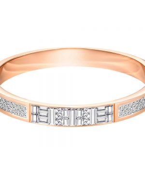 Swarovski Ethic Narrow Bangle, White, Rose Gold Plating