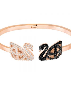 Swarovski Facet Swan Bangle, Multi-colored, Mixed Plating