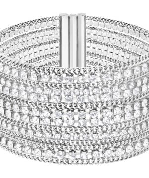 Swarovski Fit Bracelet, White, Stainless steel