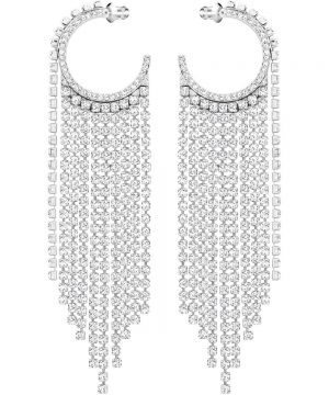 Swarovski Fit Hoop Pierced Earrings, White, Rhodium plating