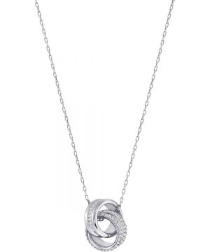 Swarovski Further Pendant, Small, White, Rhodium plating