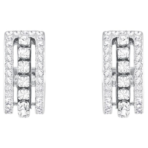 Swarovski Further Pierced Earrings, White, Rhodium plating