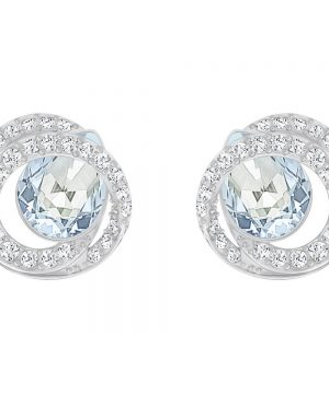 Swarovski Generation Pierced Earrings, Blue, Rhodium Plating