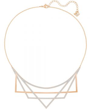 Swarovski Geometry Necklace, Medium, White, Rose gold plating