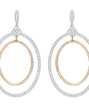 Swarovski Gilberte Hoop Pierced Earrings, White, Mixed Plating