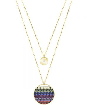 Swarovski Ginger Layered Pendant, Multi-colored, Gold plating