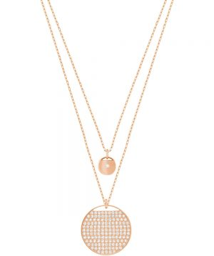 Swarovski Ginger Layered Pendant, White, Rose gold plating