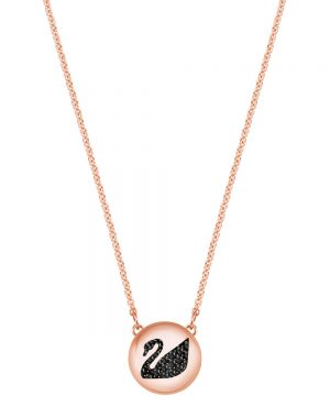 Swarovski Hall Swan Pendant, Gray, Rose gold plating