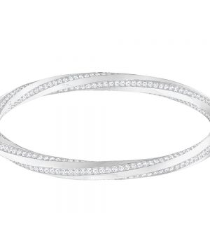 Swarovski Hilt Bangle, White, Rhodium plating