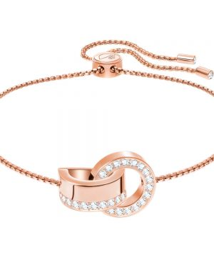 Swarovski Hollow Bracelet, White, Rose gold plating