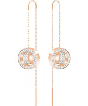 Swarovski Hollow Chain Pierced Earrings, White, Rose Gold Plating