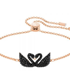 Swarovski Iconic Swan Bracelet, Black, Rose Gold Plating