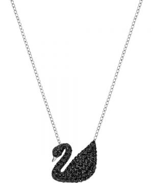 Swarovski Iconic Swan Pendant, Black, Rhodium plating