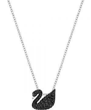 Swarovski Iconic Swan Pendant, Small, Black, Rhodium plating