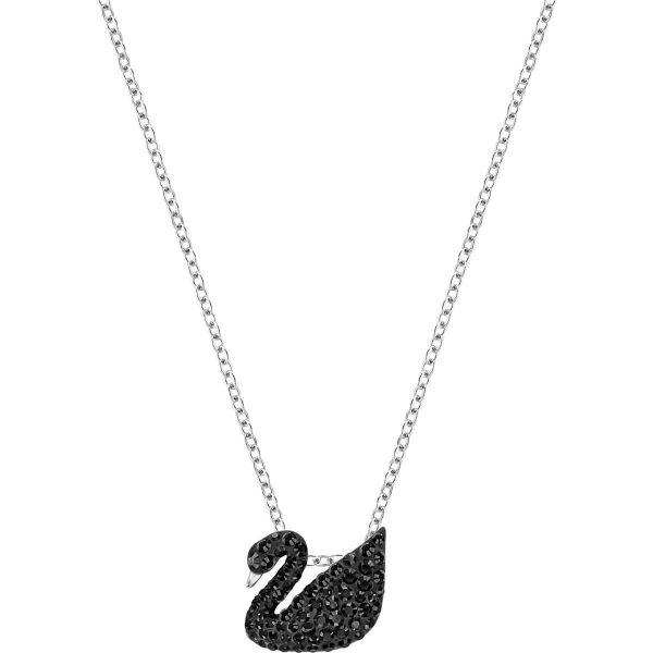 Swarovski Iconic Swan Pendant, Small, Black, Rhodium plating