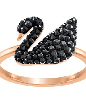 Swarovski Iconic Swan Ring, Black, Rose gold plating