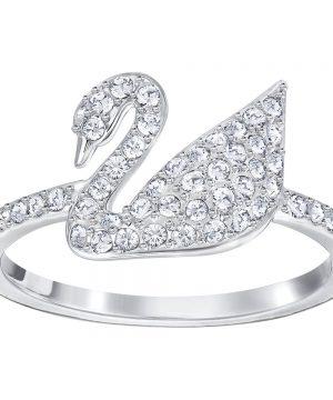 Swarovski Iconic Swan Ring, White, Rhodium Plating