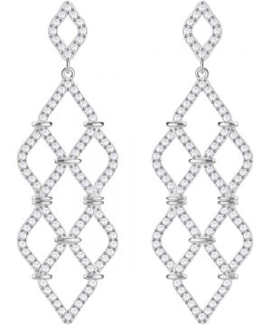 Swarovski Lace Chandelier Pierced Earrings, White, Rhodium plating