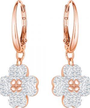 Swarovski Latisha Pierced Earrings, White, Rose gold plating