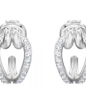 Swarovski Lifelong Hoop Pierced Earrings, Small, White, Rhodium plating