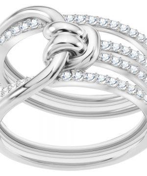Swarovski Lifelong Wide Ring, White, Rhodium plating