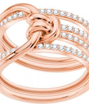 Swarovski Lifelong Wide Ring, White, Rose gold plating