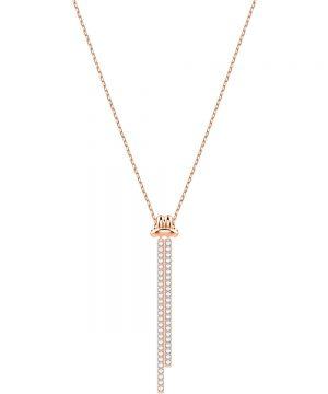 Swarovski Lifelong Y Pendant, White, Rose gold plating