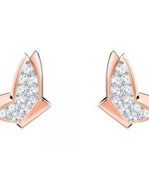 Swarovski Lilia Fig Pierced Earrings, White, Rose gold plating