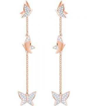 Swarovski Lilia Pierced Earrings, White, Rose gold plating