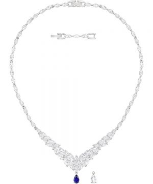 Swarovski Louison Necklace, Large, White, Rhodium plating