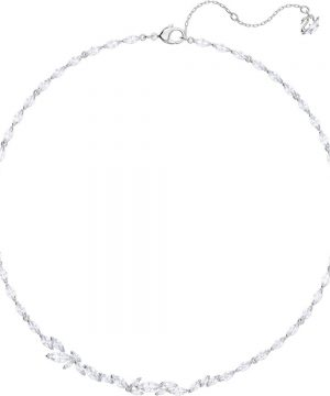 Swarovski Louison Necklace, White, Rhodium plating