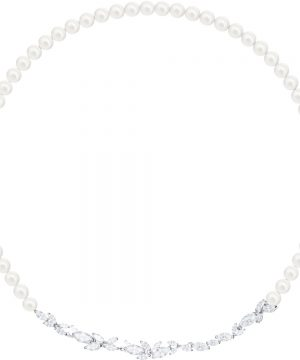 Swarovski Louison Pearl Necklace, White, Rhodium plating