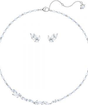 Swarovski Louison Set, Medium, White, Rhodium plating